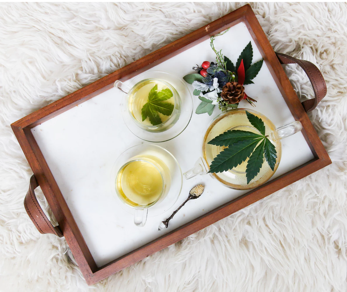Tray with cannabis coffee