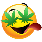 smiling weed emoji with tongue out