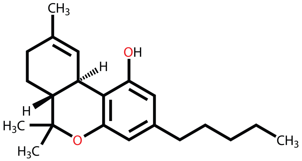 Structural formula of Tetrahydrocannabinol (THC), the psychoactive constituent of the cannabis plant